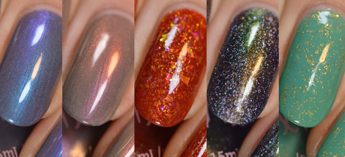 collage of Pahlish Mandalorian nail polish collection