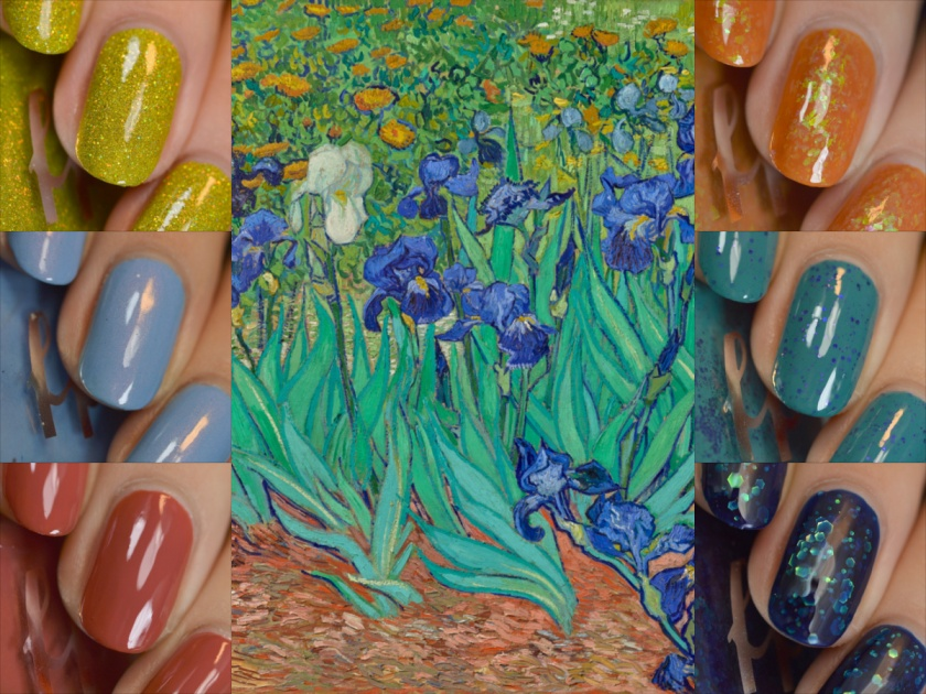 A collage of Femme Fatale Irises collection with Van Gogh Irises painting