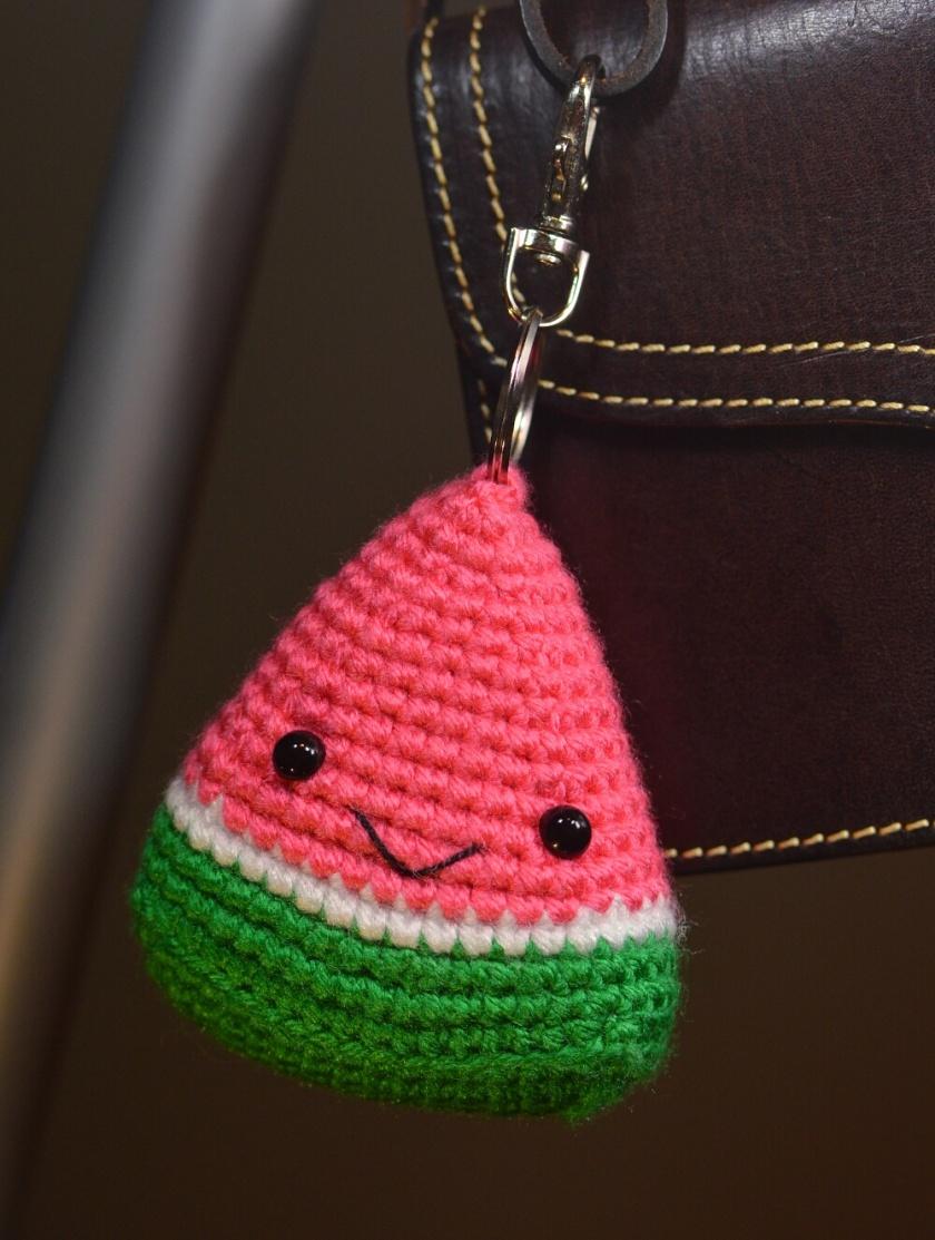 watermelon crochet keychain 1