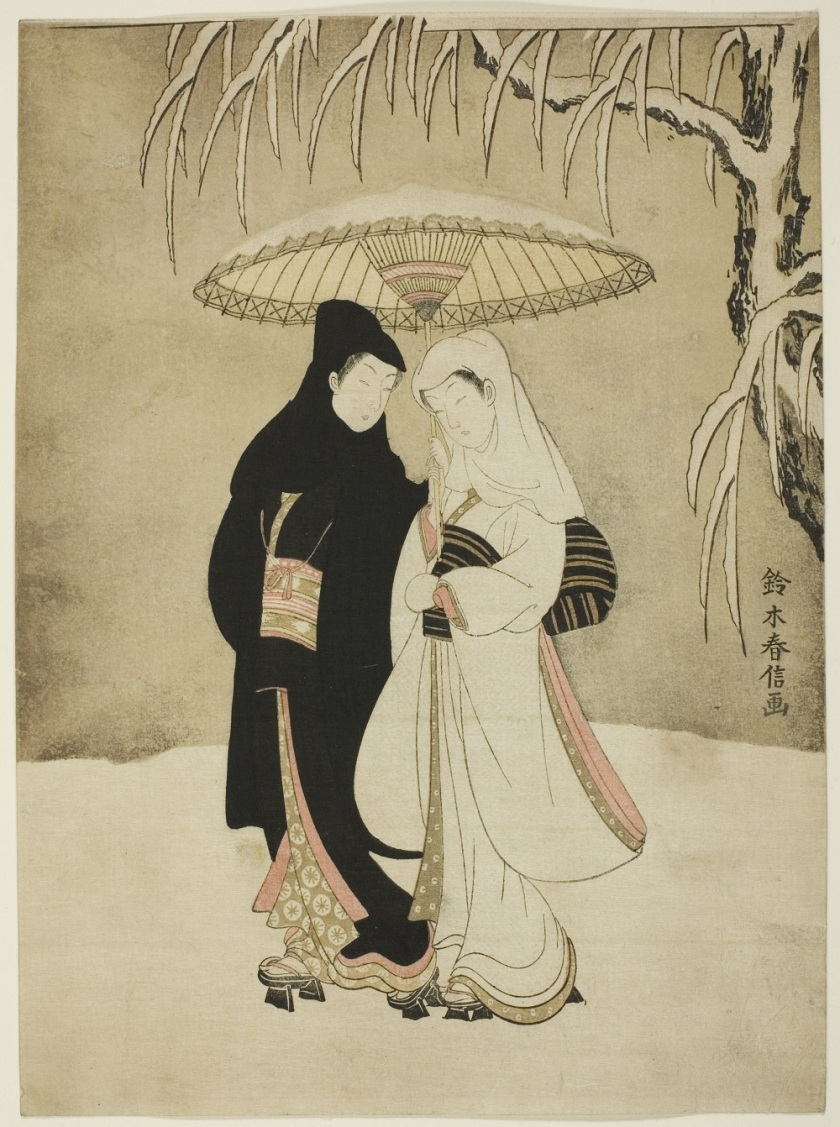 Two Lovers Beneath an Umbrella in the Snow